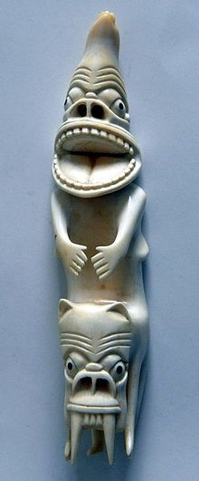 In Greenlandic Inuit (Kalaallit) traditions, a tupilaq was an avenging monster fabricated by a practitioner of witchcraft or shamanism Inuit Kunst, Arte Inuit, Inuit Art, Native Art, Native American Art, Folklore, Art Premier, Art Sculpture, Bone Carving
