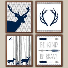 Woodland Nursery Art For Boys - Tribal Boys Wall Decor - Stag - Kids Wall Art - Navy Nursery Decor - Boys Wall Art - Set of 4 Art Prints by iNKYSQUIDKIDS on Etsy https://www.etsy.com/listing/207095850/woodland-nursery-art-for-boys-tribal