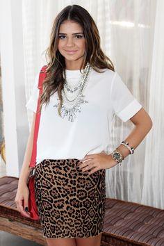 Leopard Skirt + White Shirt