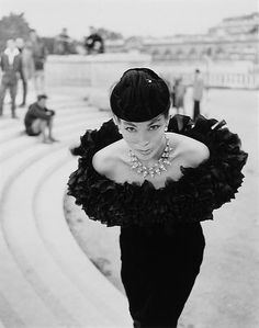 Model Lucky in Dior. Photographed by Walde Huth in Paris, 1955.
