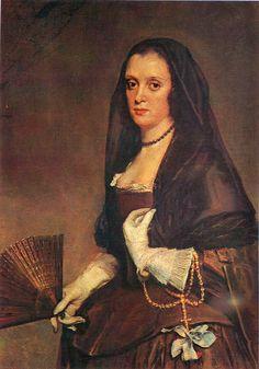 Portrait of a Lady with a Veil, 1644-48, by Diego Rodríguez de Silva y Velázquez (Spanish, 1599-1660).