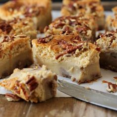 Magic cake that tastes just like good ol' pecan pie but a lot less sweet! These bars are made in the traditional magic cake form but taste just like pecan pie!