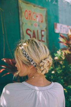 Perfect Summer Hair Trends Braided Up Do With Leopard Print Headband Hair Accessory