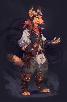 Steampunk fox, Connie Bi on ArtStation at https://www.artstation.com/artwork/steampunk-fox