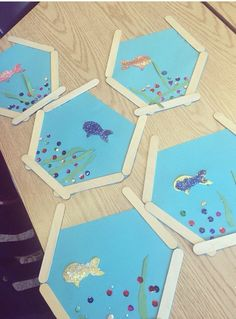 39 Ideas Fish Art Projects For Kids Popsicle Sticks Sea Crafts, Fish Crafts, Craft Stick Crafts, Resin Crafts, Projects For Kids, Art Projects, Crafts For Kids, Daycare Crafts, Toddler Crafts