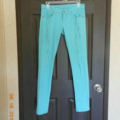 DEB Mint green skinny jeans Mint skinny jeans purchased feom DEB. Super soft almost feel like jeggings. Size 3. Only worn 2 to 3 times, in great condition. Price firm Reign Jeans Skinny