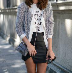 tweed jacket and leather skirt