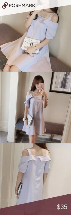 Strappy Off-Shoulder Babydoll Dress Product Measurements (See details):  Size: small Bust: 82 Length: 81 Sleeve Length: 20 Material:Blended Fabric, Acrylic Color: light blue Dresses Mini