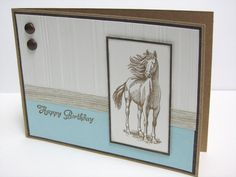 Handmade Birthday Card - Horse, Equestrian Stationary. $3.75, via Etsy.