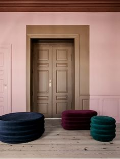 Large Round Pouf in Bordeaux design by Ferm Living Interior Paint, Modern Interior, Interior Doors, Room Interior, Danish Design, Colorful Interiors, Beautiful Interiors, Interior Inspiration, Color Inspiration