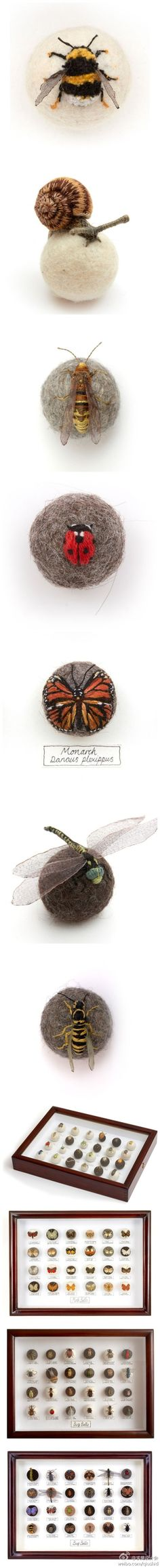 Felted and embroidered insect collection by Claire Moynihan