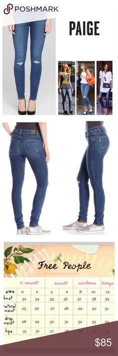 """Anthropologie Paige Orleans Verdugo Jeans.  NWT. Anthropologie Paige Orleans Wash Destructed Verdugo Ankle Skinny, 91% cotton, 7% polyester, 2% elastanne, machine washable, 28"""" waist, 8.75"""" front rise, 13.5"""" back rise, 28.5"""" inseam, 10"""" leg opening (all around), stretchy, distressed areas on front waist front left pocket, ripped torn knees, light fading, five pockets, belt loops, measurements are approx. Paige new Transcend fabric features a formula that yields luxuriously denim that won't…"""