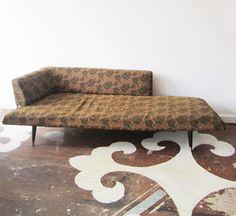 "For sale: Unusual mid-century left-wing asymmetrical daybed on pin legs. 90""w x 37""h x 27""d / Seat depth is 27"" and tapers to 25"""