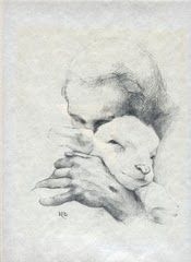 My daughter bought me this GORGEOUS ink picture of Jesus with a lamb and it's hanging in my dining room as we speak ...