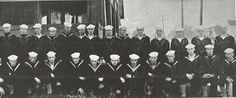 """UO students enlisted in the Navy training for WWI, residing in """"the ship"""" (Sigma Chi House) 1918.  From the 1919 Oregana (University of Oregon yearbook).  www.CampusAttic.com"""