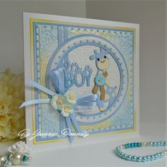 A Baby Boy Card today, still using the squares and circles design - using dies from, #CreativeExpressions / Sue Wilson, Noble Double Pierced Squares and Circles Twinkle Twinkle Embossing Folder It's A Boy also using Marianne Giraffe Dienamics Fishtail Banner