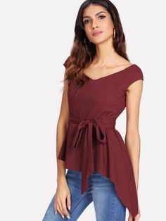 310e9a59ebe7db Shop Double V Neck Self Belted Asymmetric Top online. SHEIN offers Double V  Neck Self Belted Asymmetric Top   more to fit your fashionable needs.