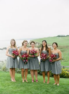 Charcoal Grey Dresses, Pink Bouquets; Photo by Tanja Lippert