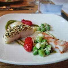 Brown butter poached @NorthernDivineCaviar sturgeon loin with quinoa crust, pickled and dehydrated sweet tomato, nasturtium gel, side stripe prawn, sunchoke puree, peas by @ChefRyanStone at hisChaîne des Rôtisseurs @ChaineCanada dinner #event 👌#Vancouver