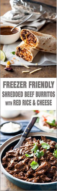 Freezer Friendly Shredded Mexican Beef Burritos - juicy, moist shredded beef with Mexican Red Rice and cheese wrapped in a tortilla.