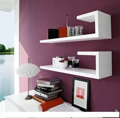 repisa minimalista flotante moderna barata forma bastón.