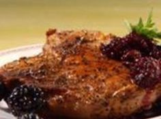 Pan-Fried Pork Chops and Blackberries Recipe