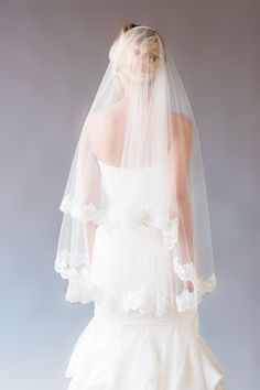 GEORGINA VEIL | fingertip length veil with lace edge, veil with blusher, drop veil, veil with lace, ivory bridal illusion tulle veil by YuriCWeddingShoppe on Etsy