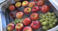 Cleaning fruit - fill sink with water, add 1 C. Add all fruit and soak for 10 minutess. Water will be dirty and fruit will sparkle with no wax or dirty film.This would be much cheaper than the fancy fruit/veggie wash that I buy. All Fruits, Fruits And Veggies, Fruit Veggie Wash, Do It Yourself Food, Good Food, Yummy Food, Yummy Treats, Think Food, Cooking Tips