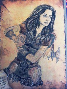 Selbstgestaltete Karte in Mittelerde-Stil. Zwergin Erebors. Tochter Eichenschilds. Cíll Marmorschild. Geschenk an eine Freundin. Ich habe sie als Zwergin, als Tochter von Thorin zu Papier gebracht. Etwas realistischer, mit Vorlage eines Fotos. #Drawing #Hobbit #TheHobbit #dwarf #dwarfWoman #pencildrawing #oldPaper #Middleearth #Mittelerde #ZwergeErebors #Zeichnung #Fantasy