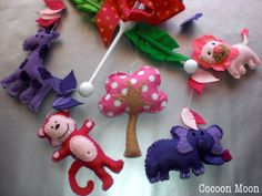 Pink and Purple Jungle  Animal Felt Baby Mobile by CocoonMoon