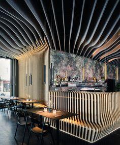 Project: Architect: Bermüller + Niemeyer Architekturwerkstatt Location: Fuji Yama Restaurant, Nuremberg, Germany Desk Partitions, Salon Interior Design, Digital Fabrication, Office Workspace, Lobbies, Restaurant, Location, Acoustic, Places