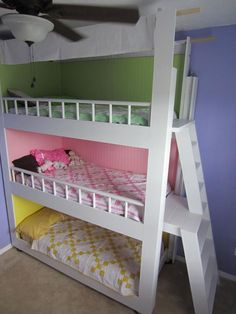 Triple Bunk Beds....need to do this for my girls!