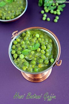 pudina peas curry- fresh peas masala gravy #indian- Really tasty and fresh. I used five green chiles and this was really spicy. The mint balanced the spice, but next time I'd maybe use three instead.
