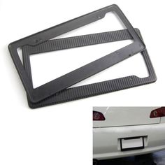2x Carbon Fiber Painted ABS Car License Plate Frame Tag Cover Trim High Quality Fit For Auto Truck USA Vehicles Car Styling