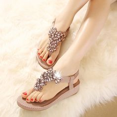 8921da25560608 New Elegant Diamond Bohemian Rhinestone Fashion Flat Shoes Women Sandals  Casual Shoes Summer Sandals Flip Flats