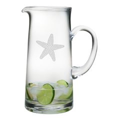 Starfish Etched Tankard Pitcher - Beach Décor Shop