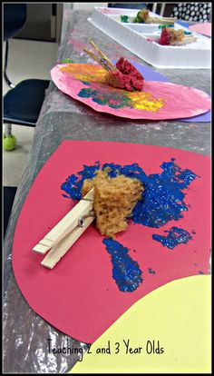 Painting With Clothespins and Natural Sponges - Teaching 2 and 3 year olds