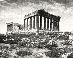 Athenian Acropolis, Parthenon, 1841 by Science Source Ancient Greek Architecture, Architecture People, Parthenon Athens, Elgin Marbles, Classical Greece, Old Egypt, History Of Photography, Greek Art, First Photograph