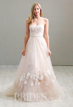 A blush pink strapless @jimhjelm wedding dress | Brides.com