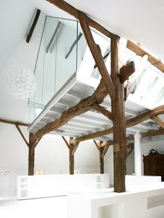 Lovely beams and glass walled space