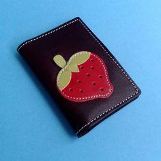 Portefeuille carte de crédit pour 4 cartes avec fraise rouge