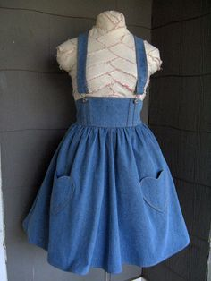 Can I pull this off? Denim Heart Pocket Overalls Jumper PLUS SIZE CUSTOM by meganmaude, $150.00