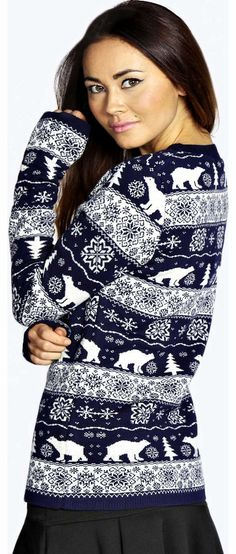 boohoo Jennet Polar Bears Christmas Jumper - navy Go back to nature with your knits this season and add animal motifs to your must-haves. When youre not wrapping up in woodland warmers, nod to chunky Nordic knits and polo neck jumpers in peppered mar http://www.comparestoreprices.co.uk/womens-clothes/boohoo-jennet-polar-bears-christmas-jumper--navy.asp