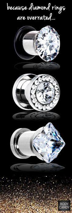 Diamonds aren't the only sparkling gems! Plug your earlobes & shine. www.BodyCandy.com