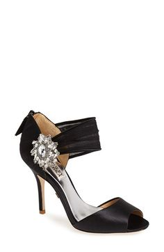 Free shipping and returns on Badgley Mischka 'Gayla' Peep Toe Sandal (Women) at Nordstrom.com. A radiant brooch rests where a swath of gathered chiffon meets the quarter of an elegant peep-toe sandal.