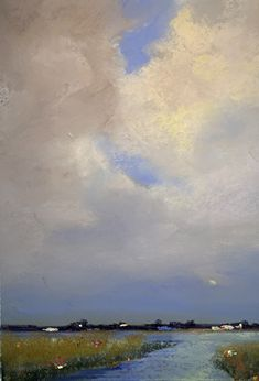 Clouds Over Sparrow's Nest by Eve Miller, Pastel, 12 x 9 Plum Island, Oak Island, Summer Sky, End Of Summer, Sparrow Nest, Tapestry Nature, Harbor Island, Sky Watch, Day Glow