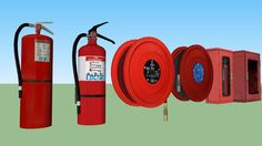 Large preview of 3D Model of Fire extinguisher set