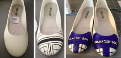 A DIY tutorial on how to paint flats. This tutorial is for geeky shoes, but this may be a good way to get shoes that are comfy AND are cool! Colors to match my not white dress, and then pattern it somehow?