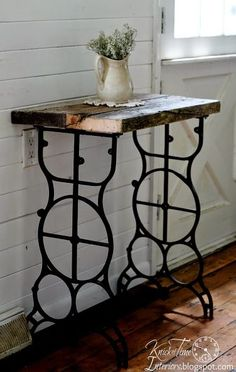 DIY:: Rustic Barn-wood Side Table With Legs From Vintage Salvaged Sewing Machine ! Wonder if my mom would give me hers?