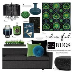"""""""Color Theory: Bright Rugs"""" by palmtreesandpompoms ❤ liked on Polyvore featuring interior, interiors, interior design, home, home decor, interior decorating, Bloomingdale's, BassamFellows, Kevin O'Brien and Vivaraise"""